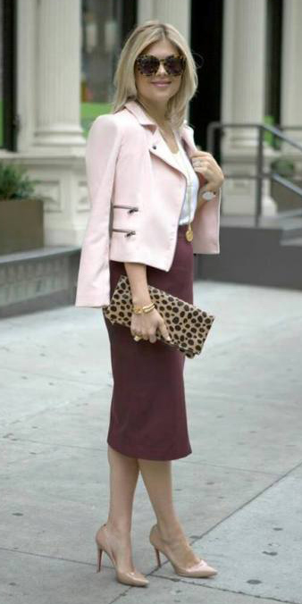 burgundy-pencil-skirt-pink-light-jacket-moto-sun-tan-bag-clutch-tan-shoe-pumps-blonde-fall-winter-lunch.jpg