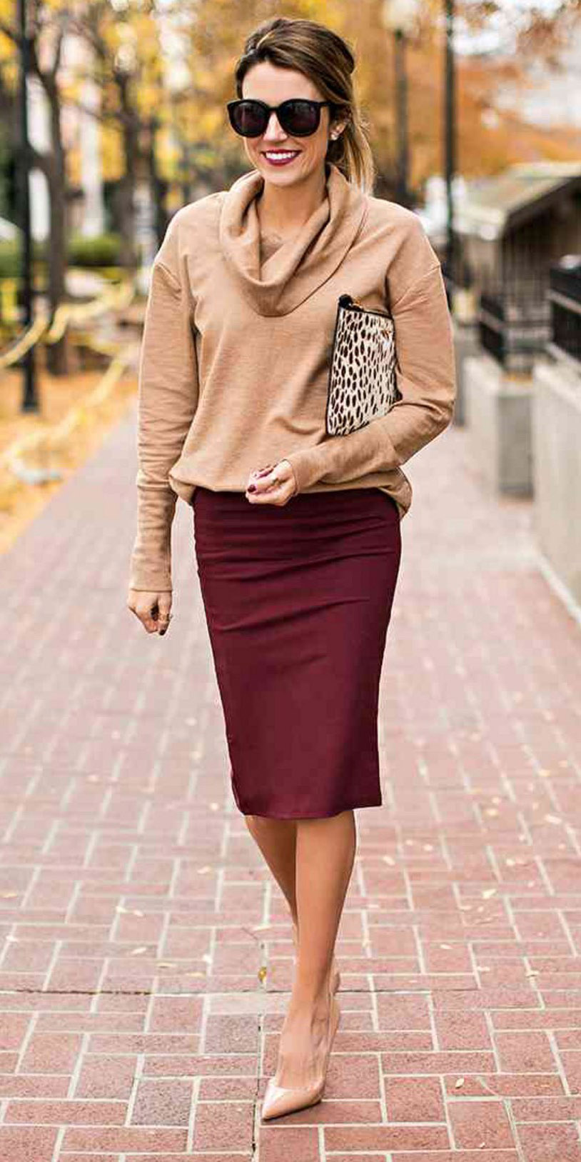 burgundy-pencil-skirt-tan-sweater-tan-shoe-pumps-sun-fall-winter-hairr-work.jpg