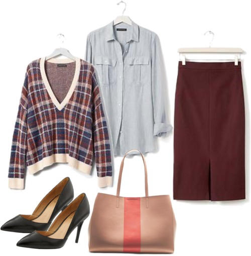 r-burgundy-pencil-skirt-blue-light-collared-shirt-tan-bag-tote-howtowear-fashion-style-outfit-fall-winter-plaid-burgundy-sweater-black-shoe-pumps-work.jpg