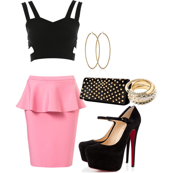 pink-light-pencil-skirt-black-crop-top-black-shoe-pumps-black-bag-clutch-hoops-bracelet-spring-summer-dinner.jpg