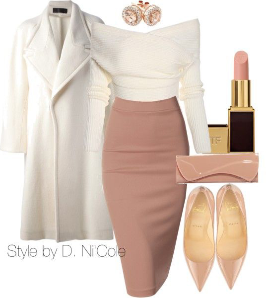 pink-light-pencil-skirt-white-sweater-offshoulder-studs-tan-shoe-pumps-tan-bag-clutch-white-jacket-coat-howtowear-fall-winter-dinner.jpg