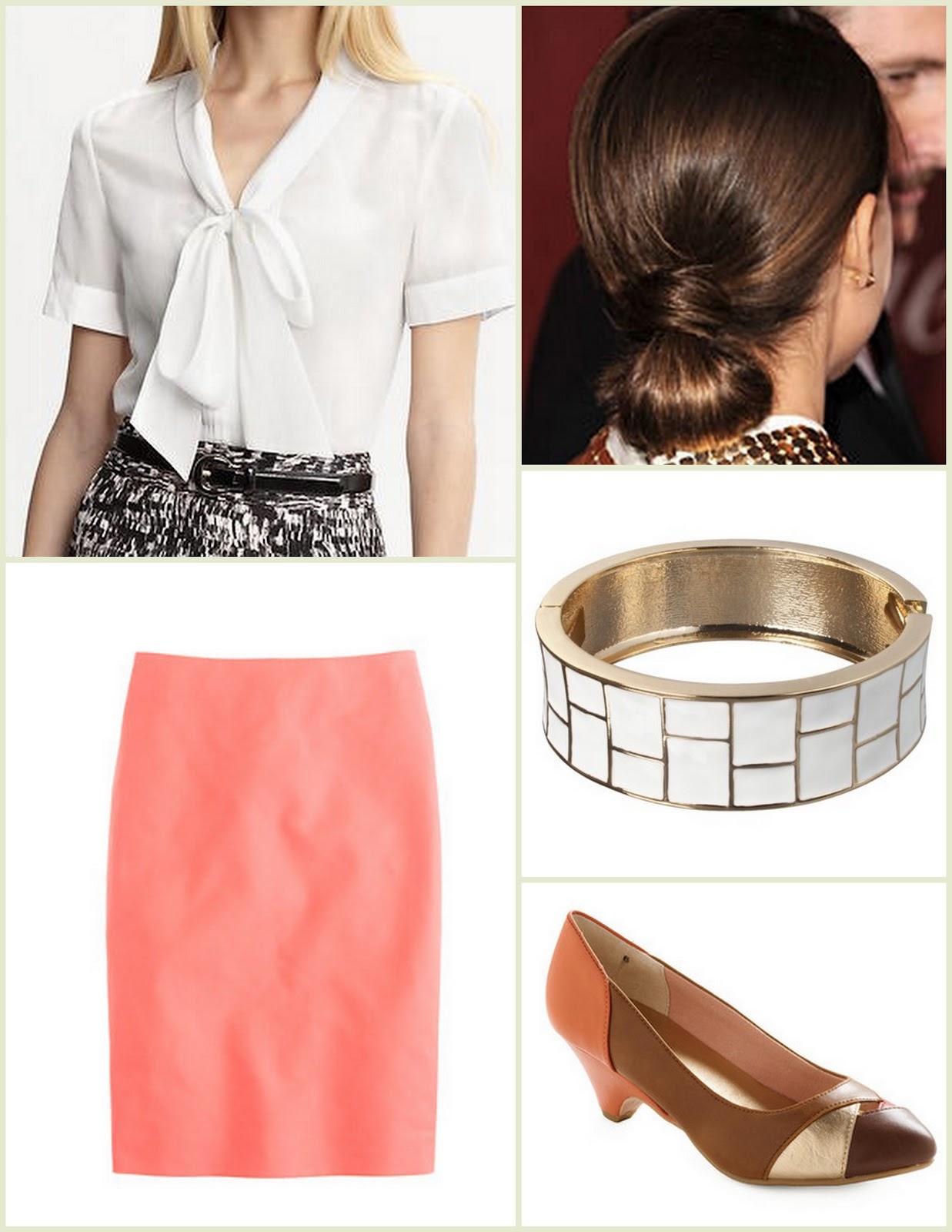 peach-pencil-skirt-white-top-blouse-bun-bracelet-cognac-shoe-pumps-spring-summer-hairr-work.jpg