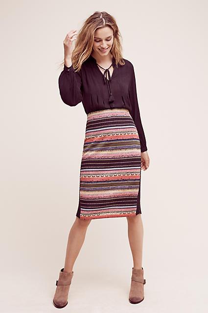 o-peach-pencil-skirt-black-top-blouse-peasant-howtowear-style-fashion-fall-winter-stripe-tan-shoe-booties-blonde-lunch.jpg