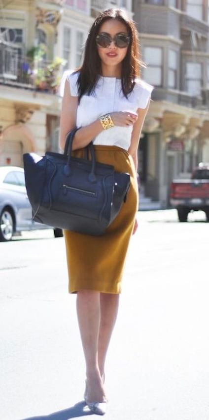 camel-pencil-skirt-white-blouse-black-bag-tote-brun-sun-white-shoe-pumps-fall-winter-work.jpg