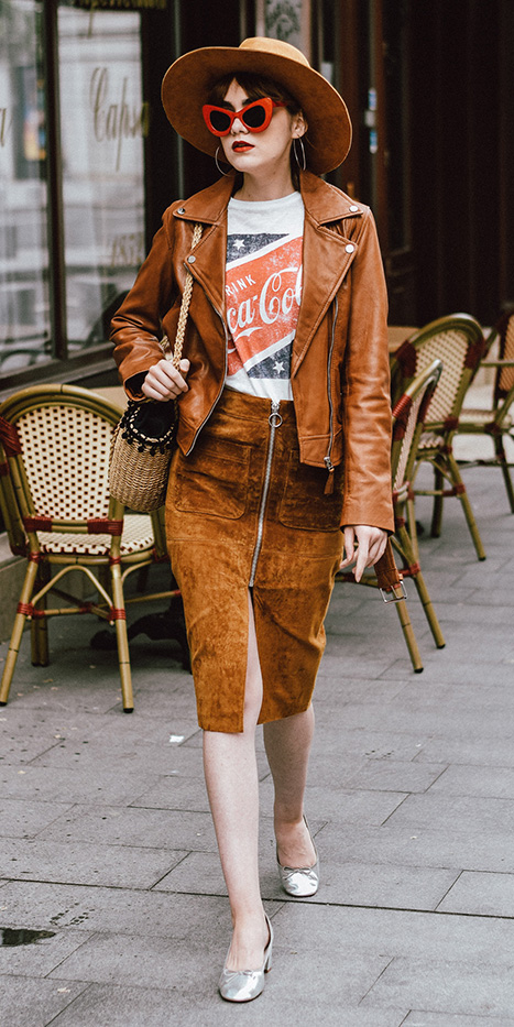 camel-pencil-skirt-suede-white-graphic-tee-sun-hairr-hat-camel-jacket-moto-tan-bag-gray-shoe-pumps-fall-winter-weekend.jpg
