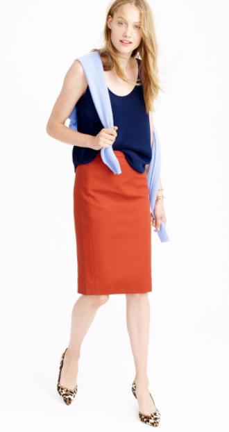 orange-pencil-skirt-blue-navy-cami-tan-shoe-pumps-leopard-spring-summer-blonde-work.jpg