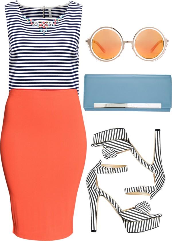 orange-pencil-skirt-blue-navy-top-stripe-blue-shoe-sandalh-blue-bag-sun-spring-summer-lunch.jpg