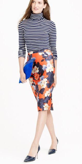 orange-pencil-skirt-floral-print-mix-blue-navy-tee-stripe-turtleneck-blue-bag-blue-shoe-pumps-spring-summer-hairr-dinner.jpg