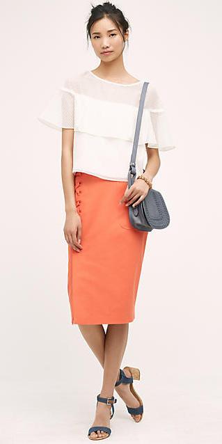 orange-pencil-skirt-white-top-bun-blue-bag-howtowear-style-fashion-spring-summer-blue-shoe-sandals-brun-lunch.jpg