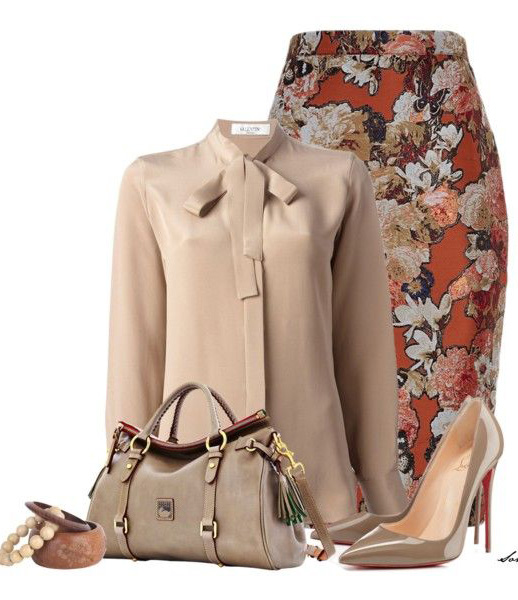orange-pencil-skirt-o-tan-top-blouse-tan-bag-howtowear-fashion-style-outfit-fall-winter-floral-bow-silk-bracelet-tan-shoe-pumps-office-work.jpg