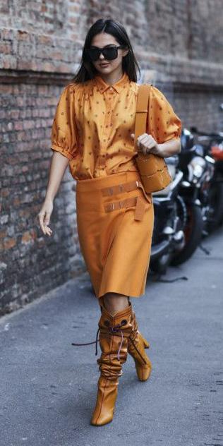 orange-pencil-skirt-orange-top-blouse-mono-cognac-shoe-boots-slouchy-cognac-bag-sun-brun-lob-fall-winter-lunch.jpg