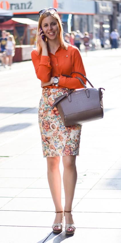 orange-pencil-skirt-orange-collared-shirt-floral-print-white-shoe-sandalw-spring-summer-blonde-work.jpg