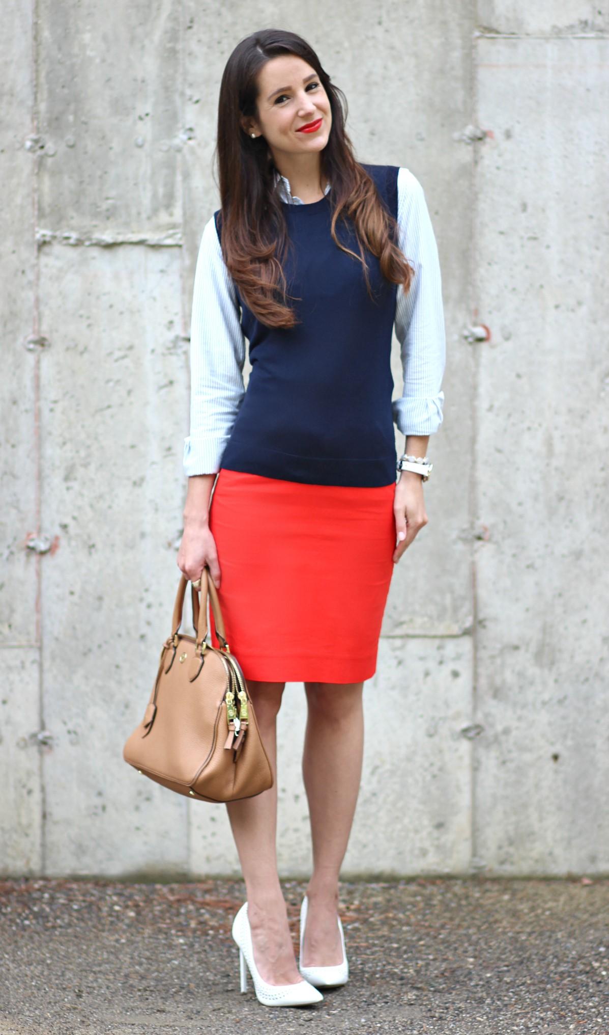 orange-pencil-skirt-blue-navy-sweatersl-vest-white-shoe-pumps-tan-bag-hairr-spring-summer-work.jpg