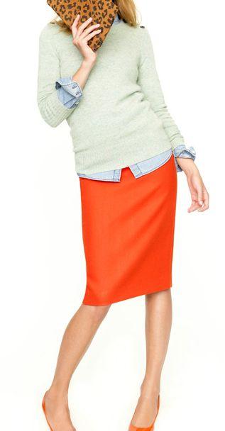 orange-pencil-skirt-green-light-sweater-blue-light-collared-shirt-jcrew-orange-pumps-spring-summer-lunch.jpg