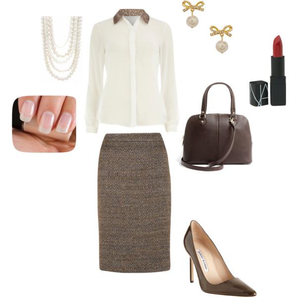 brown-pencil-skirt-white-top-blouse-pearl-necklace-earrings-brown-bag-brown-shoe-pumps-fall-winter-work.jpg