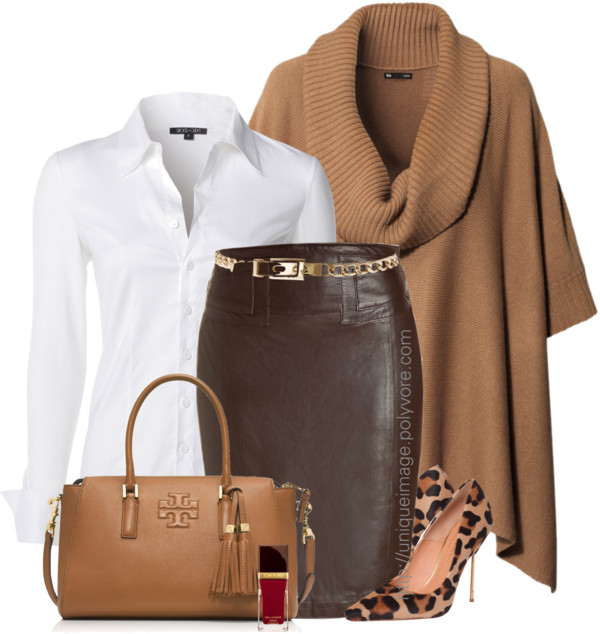 brown-pencil-skirt-white-collared-shirt-camel-sweater-poncho-cape-leather-tan-shoe-pumps-leopard-nail-fall-winter-work.jpg