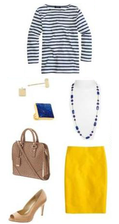 yellow-pencil-skirt-blue-navy-tee-stripe-necklace-ring-sutds-tan-bag-tan-shoe-pumps-howtowear-fashion-style-outfit-spring-summer-work.jpg