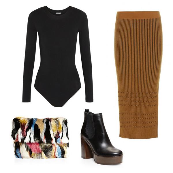 yellow-pencil-skirt-black-tee-howtowear-fashion-style-outfit-fall-winter-bodysuit-knit-mustard-platform-black-shoe-booties-black-bag-clutch-dinner.jpg