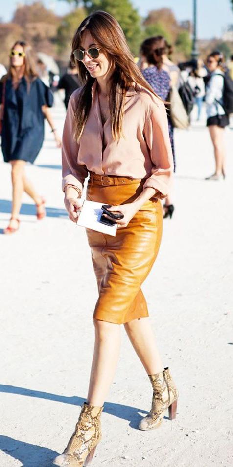 yellow-pencil-skirt-leather-tan-collared-shirt-hairr-tan-shoe-booties-snakeskin-print-fall-winter-work.jpg
