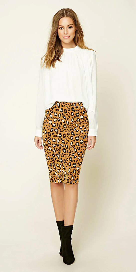 21f875493a yellow-pencil-skirt-white-top-blouse-leopard-black-