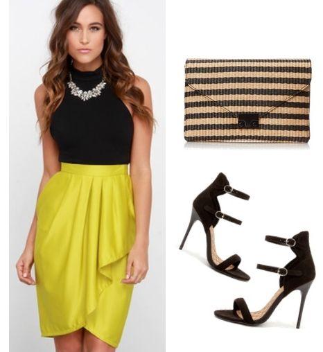 yellow-pencil-skirt-black-top-necklace-bib-tan-bag-clutch-black-shoe-sandalh-hairr-fall-winter-dinner.jpg