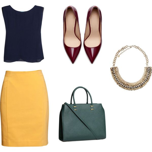 yellow-pencil-skirt-blue-navy-top-burgundy-shoe-pumps-green-bag-necklace-howtowear-fashion-style-outfit-spring-summer-work.jpg