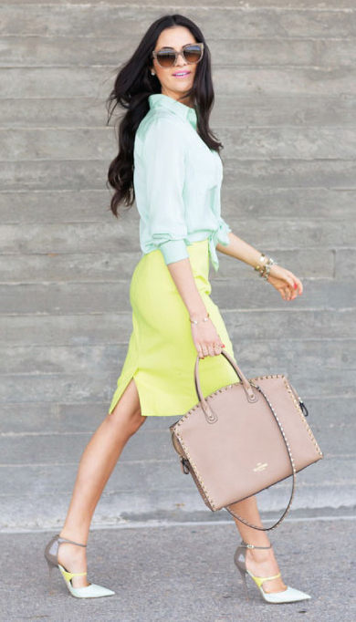 41d206f8a yellow-pencil-skirt-green-light-collared-shirt-tan-