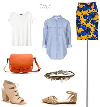 yellow-pencil-skirt-white-tee-blue-light-collared-shirt-cognac-bag-tan-shoe-sandalh-bracelet-print-howtowear-style-fashion-spring-summer-floral-lunch.jpg