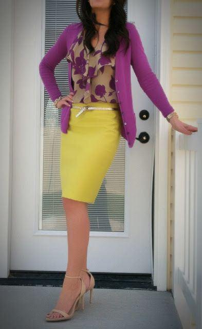 yellow-pencil-skirt-purple-royal-top-floral-print-belt-tan-shoe-sandalh-purple-royal-cardigan-spring-summer-work.jpg