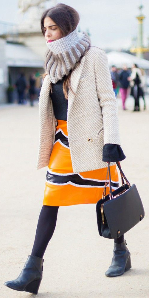 yellow-pencil-skirt-black-sweater-white-jacket-blazer-grayl-scarf-black-tights-black-shoe-booties-black-bag-brun-fall-winter-print-work.jpg