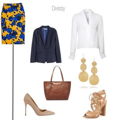 yellow-pencil-skirt-white-top-blouse-blue-navy-jacket-blazer-tan-shoe-sandalh-tan-shoe-pumps-earrings-brown-bag-tote-howtowear-style-fashion-spring-summer-floral-print-work.jpg
