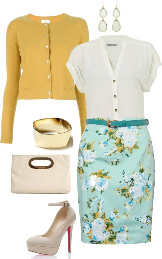 green-light-pencil-skirt-white-top-blouse-jewel-white-bag-white-shoe-pumps-howtowear-fashion-style-outfit-spring-summer-skinny-belt-yellow-cardigan-floral-print-bracelet-earrings-work.jpg