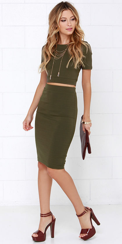 uk cheap sale many styles meticulous dyeing processes Olive green pencil skirts | HOWTOWEAR Fashion