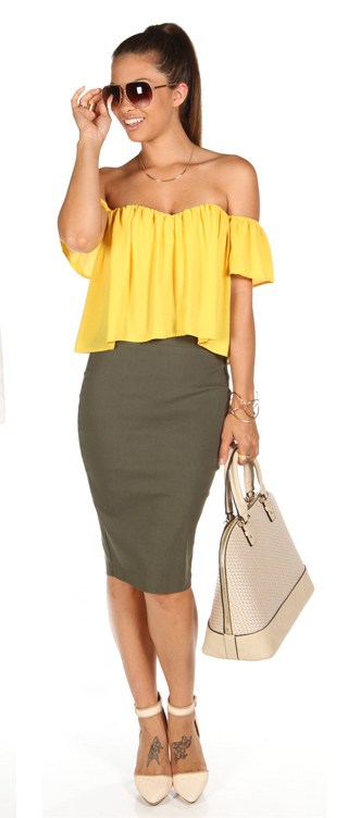 b6f74c8aa green-olive-pencil-skirt-yellow-top-offshoulder-white-