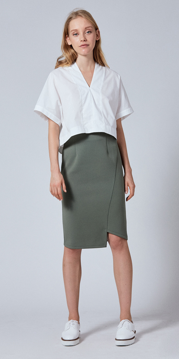 e4517f265c green-olive-pencil-skirt-white-top-white-shoe-