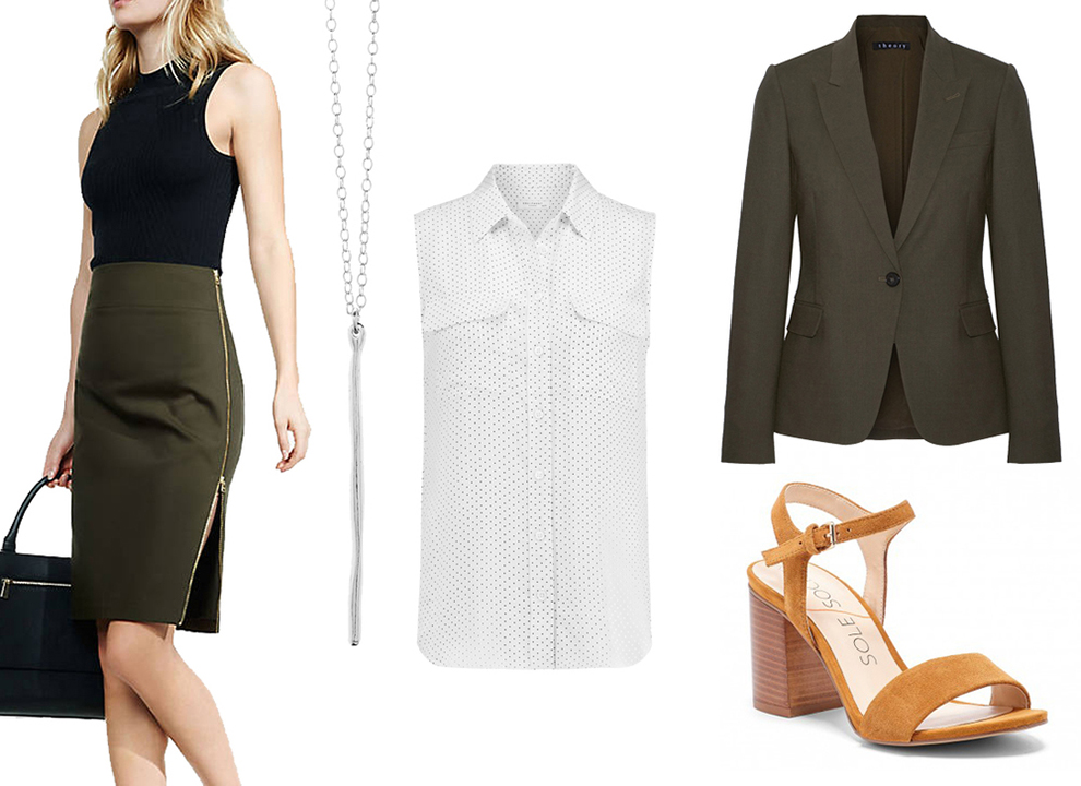38aeda2765 green-olive-pencil-skirt-white-top-blouse-necklace-