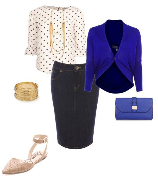 blue-navy-pencil-skirt-denim-white-top-dot-print-necklace-blue-bag-bracelet-tan-shoe-flats-blue-navy-cardigan-spring-summer-work.jpg