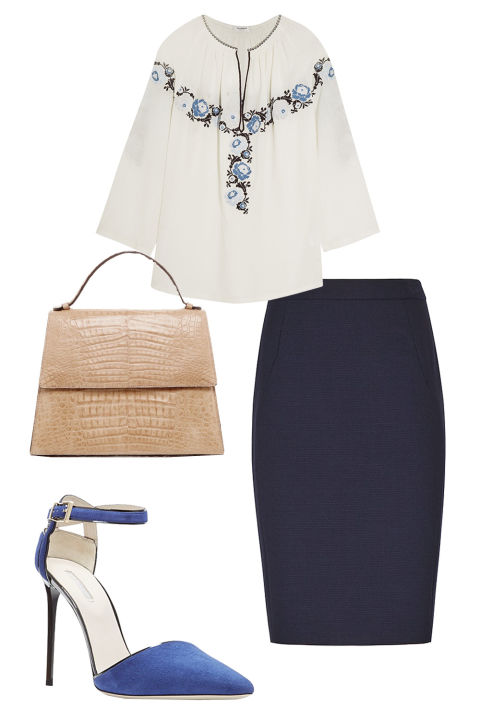 blue-navy-pencil-skirt-white-top-blouse-peasant-blue-shoe-pumps-tan-bag-tuckintop-howtowear-fashion-style-outfit-spring-summer-work.jpg