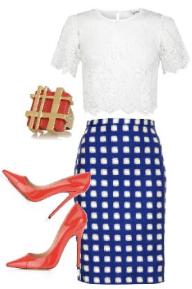 blue-navy-pencil-skirt-white-top-lace-print-ring-howtowear-style-fashion-spring-summer-gingham-orange-shoe-pumps-work.jpg