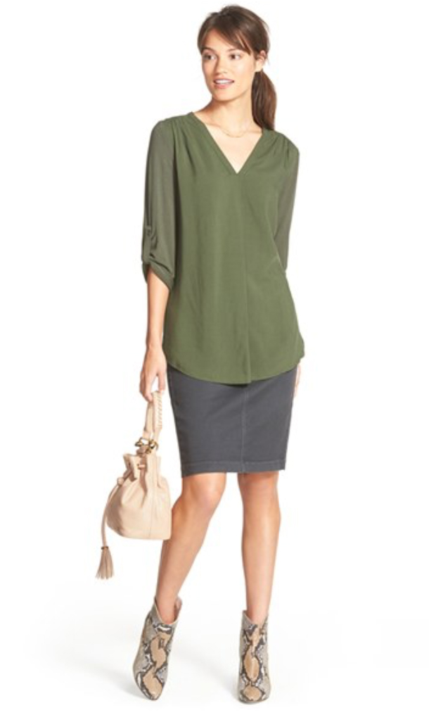 blue-navy-pencil-skirt-green-olive-top-blouse-pony-tan-bag-howtowear-style-fashion-fall-winter-snakeskin-tan-shoe-booties-brun-lunch.jpg