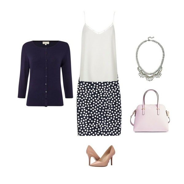 blue-navy-pencil-skirt-print-dot-white-cami-blue-navy-cardigan-pink-bag-bib-necklace-tan-shoe-pumps-howtowear-fashion-style-outfit-spring-summer-work.jpg