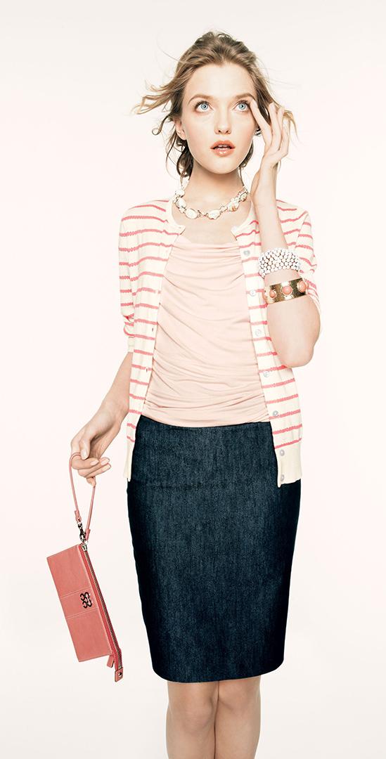 blue-navy-pencil-skirt-o-peach-top-orange-cardigan-stripe-necklace-bun-bracelet-howtowear-fashion-style-outfit-spring-summer-blonde-work.jpg