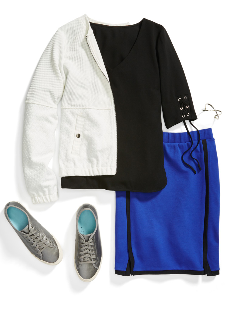 blue-navy-pencil-skirt-black-top-white-jacket-bomber-gray-shoe-sneakers-bracelet-cobalt-athleisure-howtowear-fashion-style-outfit-spring-summer-work.jpg