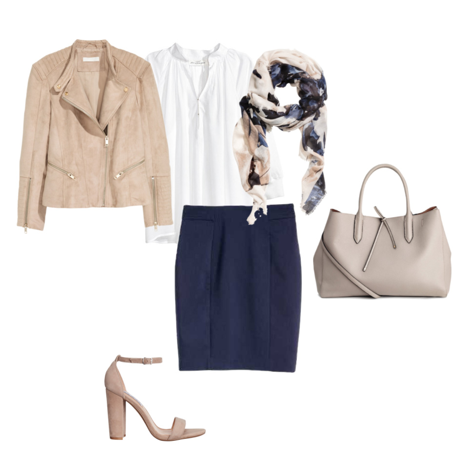 blue-navy-pencil-skirt-white-top-blouse-tan-bag-tan-shoe-sandalh-blue-navy-scarf-print-tan-jacket-moto-spring-summer-work.jpg
