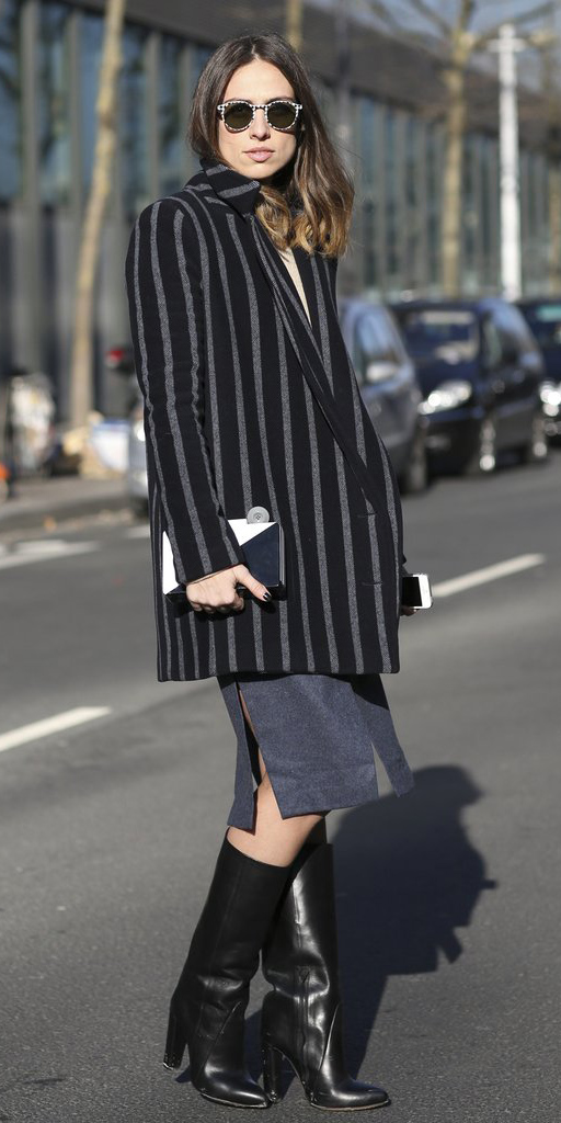 blue-navy-pencil-skirt-sun-black-shoe-boots-vertical-stripe-black-jacket-blazer-boyfriend-fall-winter-hairr-dinner.jpg