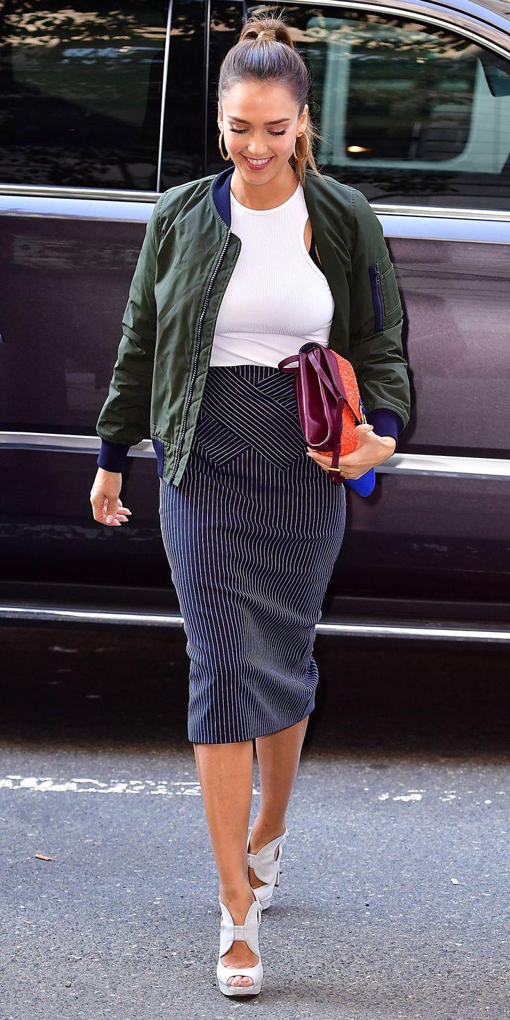 blue-navy-pencil-skirt-white-crop-top-hoops-green-dark-jacket-bomber-burgundy-bag-white-shoe-sandalh-jessicaalba-fall-winter-hairr-lunch.jpg