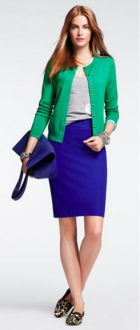 blue-navy-pencil-skirt-grayl-tee-green-emerald-cardigan-blue-bag-hairr-brown-shoe-loafers-leopard-fall-winter-weekend.jpg