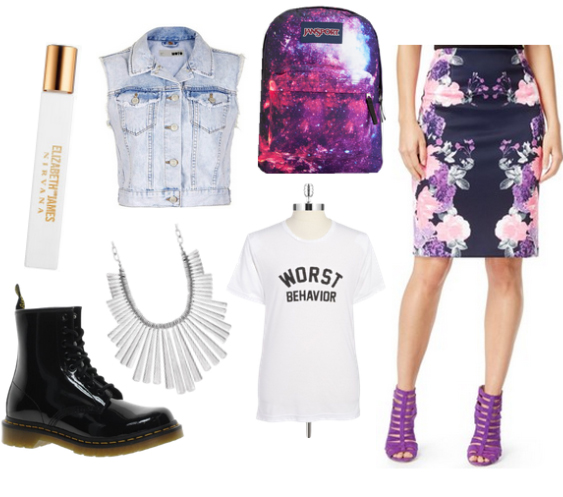 purple-light-pencil-skirt-white-tee-blue-light-vest-jean-floral-howtowear-fashion-style-outfit-spring-summer-print-graphic-black-shoe-booties-necklace-purple-bag-pack-lunch.jpg