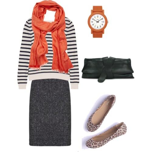 grayd-pencil-skirt-black-sweater-stripe-orange-scarf0watch-black-bag-clutch-tan-shoe-flats-leopard-howtowear-fashion-style-outfit-fall-winter-work.jpg