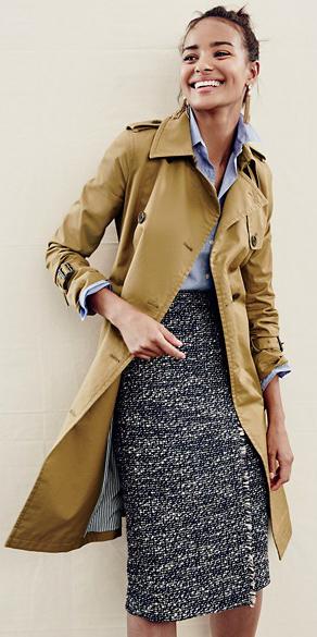 grayd-pencil-skirt-blue-light-collared-shirt-earrings-bun-howtowear-style-fashion-fall-winter-tan-jacket-coat-trench-tweed-brun-work.jpg